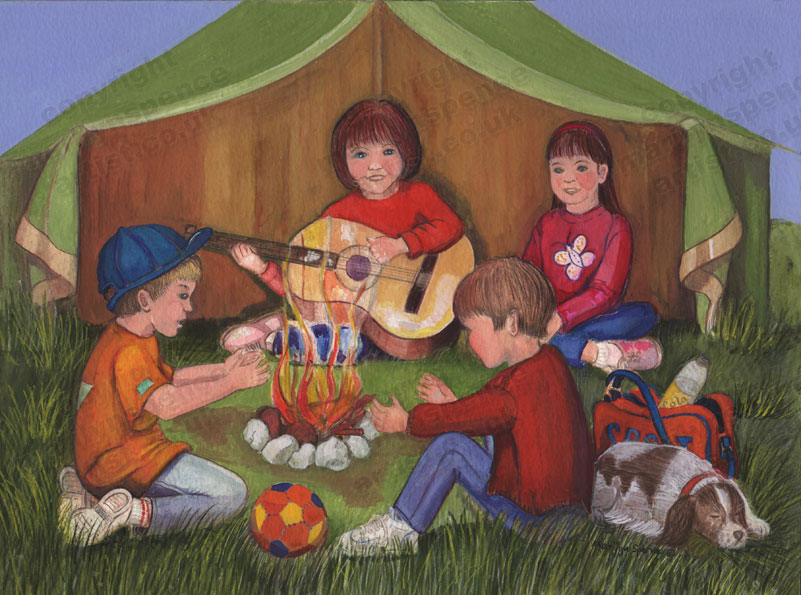 painting children singing around camp fire - Children Painting Pictures